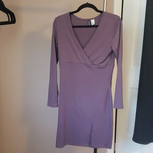 Long Sleeve Dress With Slit in Front